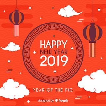 Vlak wolken chinees nieuw jaar bakcground