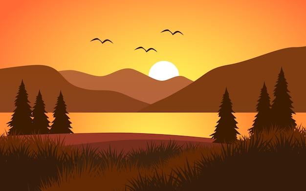 Vlak zonsonderganglandschap met rivier en berg