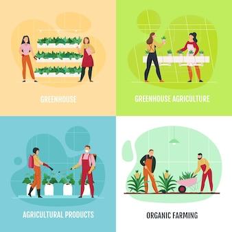Vlakke 2x2 pictogrammen die met mensen worden geplaatst die de bloemen van het groentenfruit in geïsoleerde serre planten en water geven