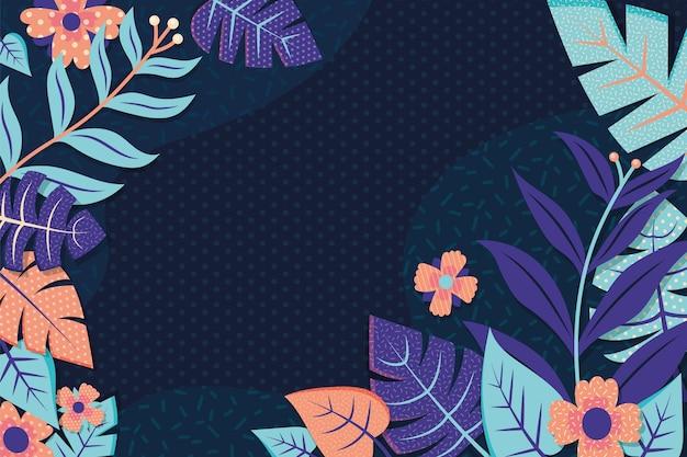 Vlakke abstracte kleurrijke bloemenachtergrond