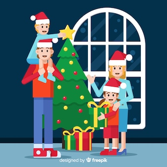 Vlakke achtergrond gelukkige kerstmisfamilie