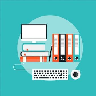 Vlakke achtergrond met een computer en mappen