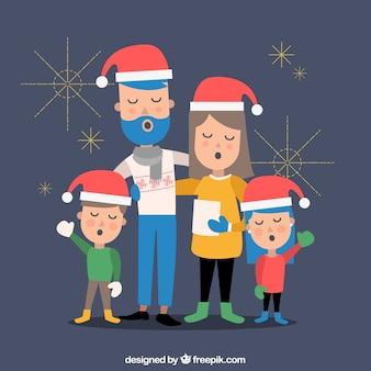 Vlakke achtergrond met een familie die een kerstmishymne zingt