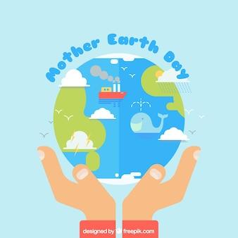 Vlakke achtergrond met handen die de planeet aarde Gratis Vector