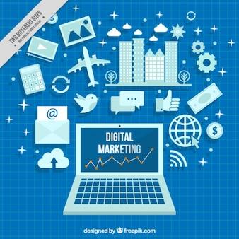 Vlakke achtergrond met marketing iconen in blauwe tinten