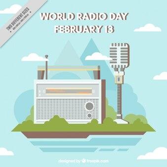 Vlakke achtergrond met radio en microfoon