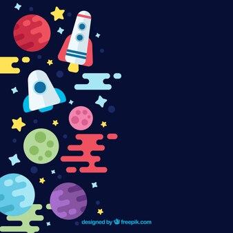 Vlakke achtergrond met raketten en planeten