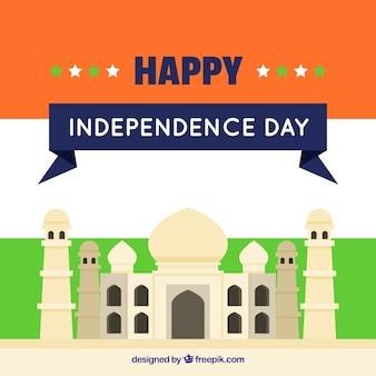 Vlakke achtergrond met taj mahal van india onafhankelijkheidsdag