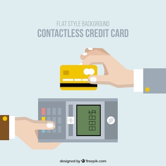 Vlakke achtergrond van betaling met contactloze credit card
