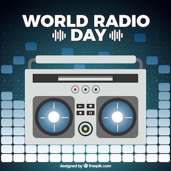 Vlakke achtergrond van de wereld radio dag