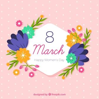 Vlakke achtergrond voor de dag van de vrouw met bloemen