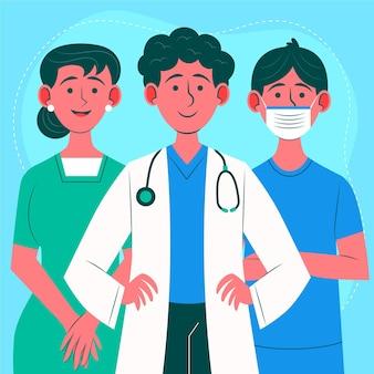 Vlakke afbeelding artsen en verpleegsters