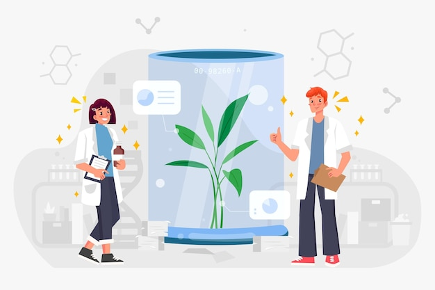 Vlakke afbeelding biotechnologie concept
