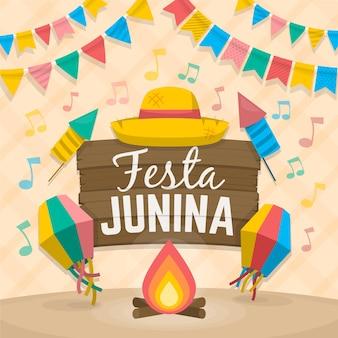Vlakke afbeelding festa junina