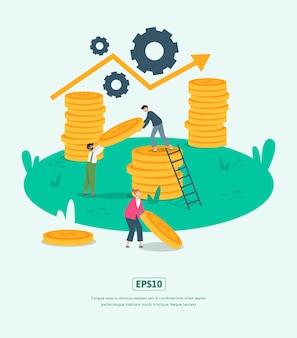 Vlakke afbeelding grow business met statistieken illustratie karakter munt dollar