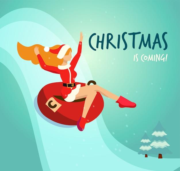 Vlakke afbeelding in vector slank meisje in klederdracht van de kerstman