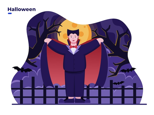 Vlakke afbeelding kinderen die dracula- of vampire-kostuum dragen om halloween-dag te vieren