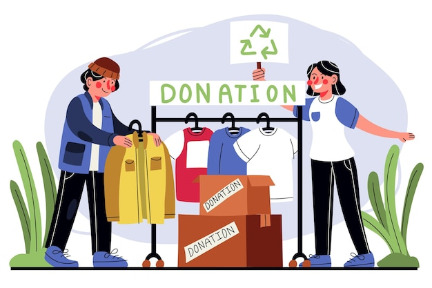 Vlakke afbeelding kleding donatie concept