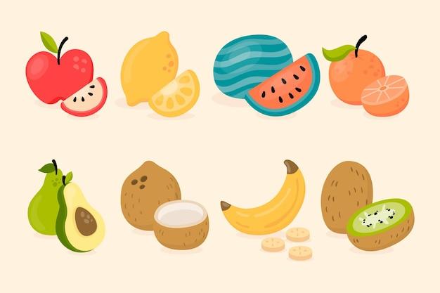 Vlakke afbeelding lekker fruit collectie