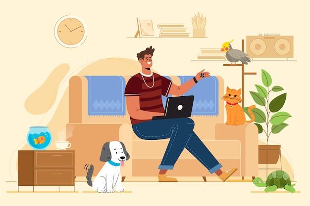 Vlakke afbeelding man met huisdieren binnenshuis