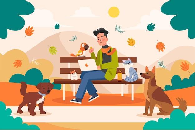 Vlakke afbeelding man met huisdieren buitenshuis
