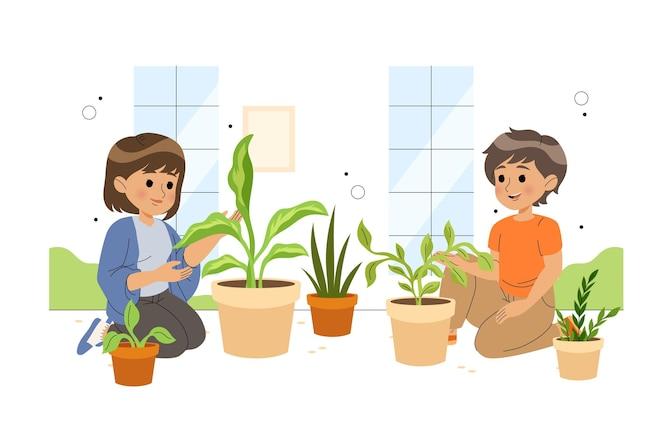 Vlakke afbeelding mensen die voor planten zorgen