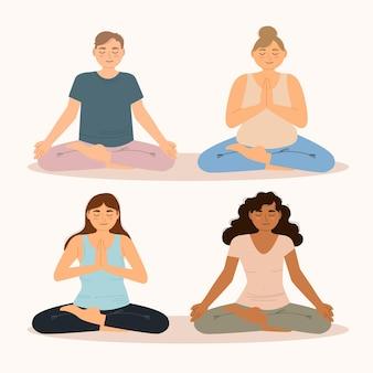 Vlakke afbeelding mensen mediteren