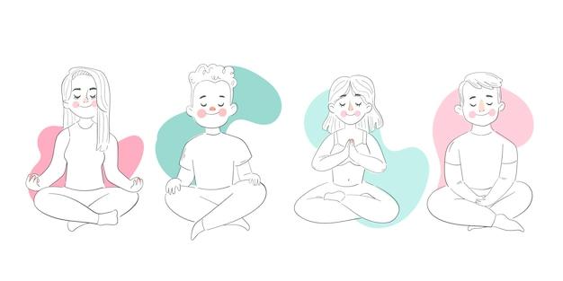 Vlakke afbeelding mensen mediteren Gratis Vector
