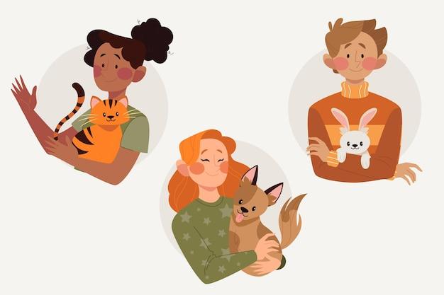 Vlakke afbeelding mensen met huisdieren