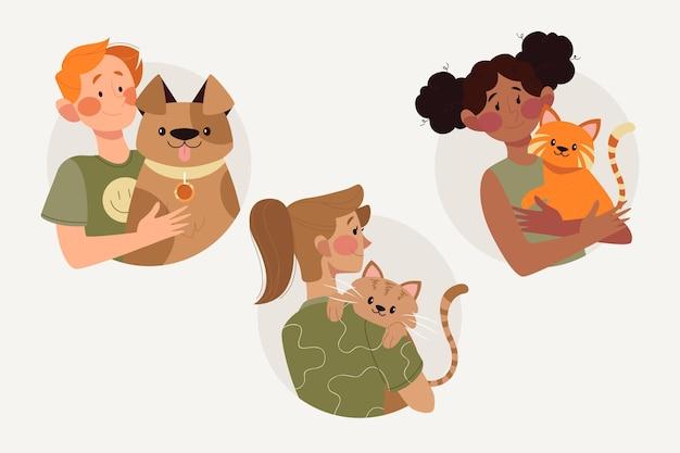 Vlakke afbeelding mensen met schattige huisdieren