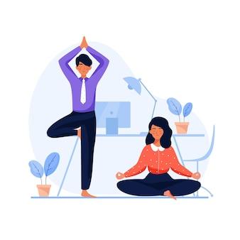 Vlakke afbeelding mensen uit het bedrijfsleven mediteren