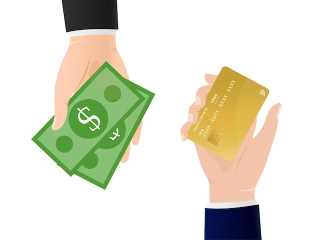 Vlakke afbeelding met geld terug handen.