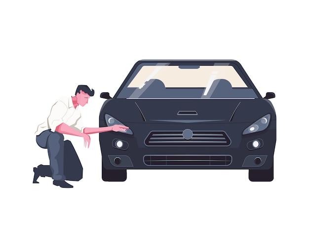 Vlakke afbeelding met man die auto onderzoekt