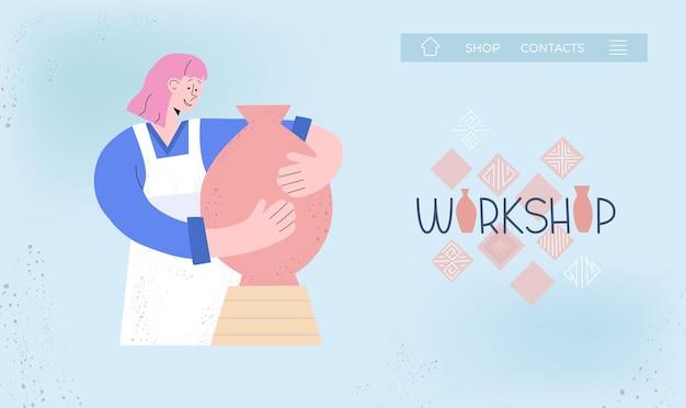 Vlakke afbeelding met meisje en pot in keramiek studio, workshop. kan gebruiken voor websitebanner, kaart