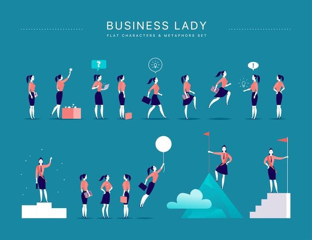 Vlakke afbeelding met zakelijke dame kantoorkarakters amp-metaforen