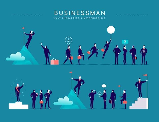 Vlakke afbeelding met zakenman office karakters