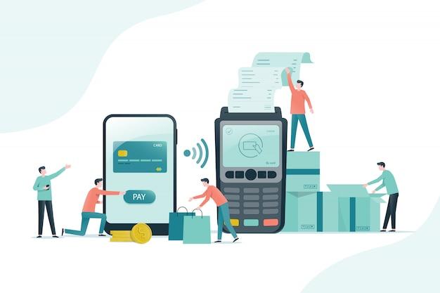 Vlakke afbeelding ontwerp met mobiele betaling en online winkelen concept