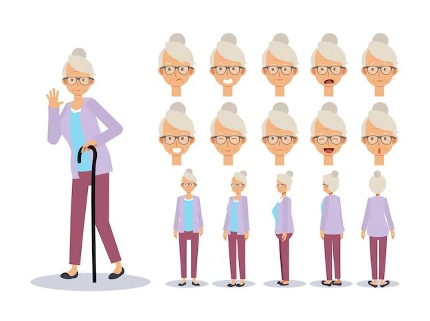 Vlakke afbeelding set van oude dame
