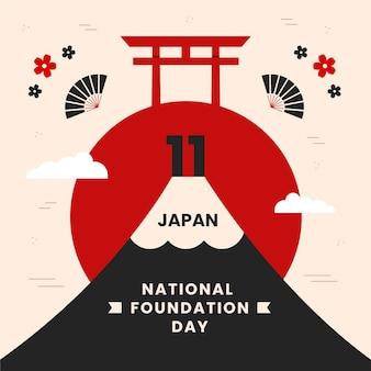 Vlakke afbeelding stichtingsdag japan