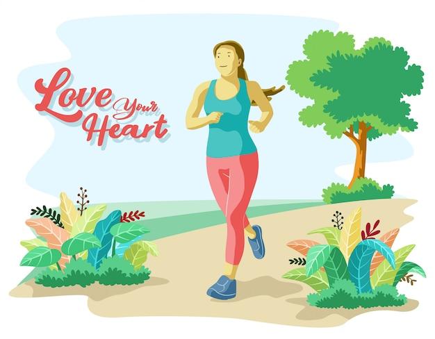 Vlakke afbeelding stijl van jonge vrouwelijke personage joggen met natuur achtergrond. gezonde levensstijl
