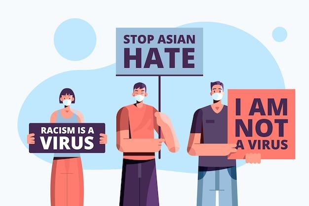 Vlakke afbeelding stop aziatische haat