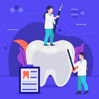 Vlakke afbeelding tandheelkundige zorg concept