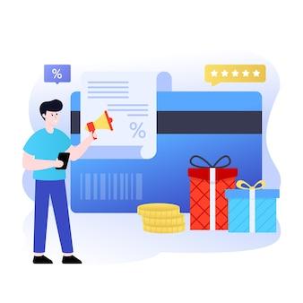 Vlakke afbeelding ter aanduiding van het bewerkbare ontwerp van online beloningen