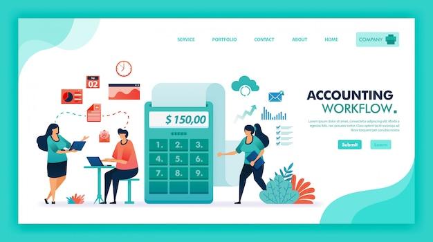 Vlakke afbeelding van accountants brainstormen en vergadering om winst en balans