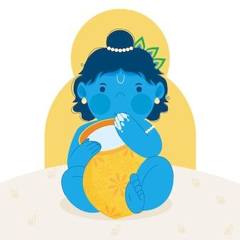 Vlakke afbeelding van baby krishna die boter eet