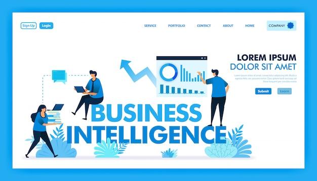 Vlakke afbeelding van bi of business intelligence om bedrijven te faciliteren.