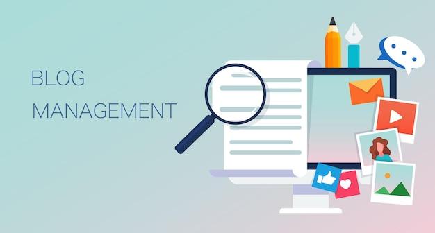 Vlakke afbeelding van blog management moderne pictogram