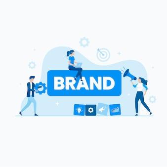 Vlakke afbeelding van branding concept
