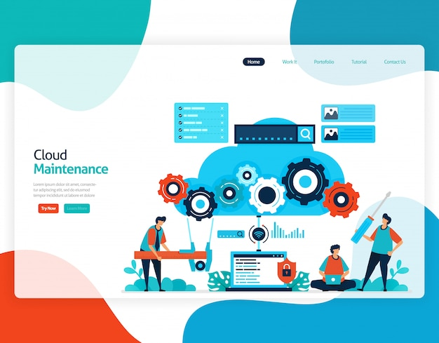 Vlakke afbeelding van cloud onderhoud. reparatie en onderhoud van cloudopslagtechnologie.
