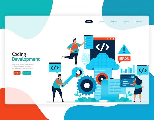 Vlakke afbeelding van codering ontwikkeling. reparatie en onderhoud van cloudopslagtechnologie.